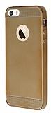 Eiroo Metallic Fit iPhone 5 / 5S Gold Silikon K�l�f