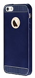 Eiroo Metallic Fit iPhone 5 / 5S Lacivert Silikon K�l�f