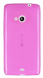 Eiroo Microsoft Lumia 535 Ultra İnce Şeffaf Pembe Silikon Kılıf