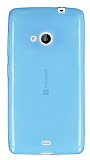Eiroo Microsoft Lumia 535 Ultra İnce Şeffaf Mavi Silikon Kılıf