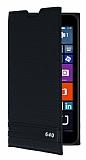 Microsoft Lumia 640 Gizli Mıknatıslı Yan Kapaklı Siyah Deri Kılıf