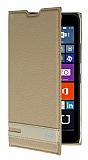 Microsoft Lumia 640 Gizli Mıknatıslı Yan Kapaklı Gold Deri Kılıf