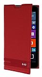 Microsoft Lumia 640 Gizli Mıknatıslı Yan Kapaklı Kırmızı Deri Kılıf