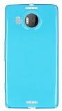 Microsoft Lumia 950 XL Ultra İnce Şeffaf Mavi Silikon Kılıf