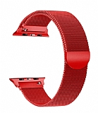 Eiroo Milanese Loop Apple Watch / Watch 2 / Watch 3 Kırmızı Metal Kordon (42 mm)