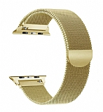 Eiroo Milanese Loop Apple Watch / Watch 2 / Watch 3 Gold Metal Kordon (42 mm)