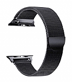 Eiroo Milanese Loop Apple Watch / Watch 2 / Watch 3 Siyah Metal Kordon (42 mm)