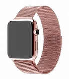Eiroo Milanese Loop Apple Watch / Watch 2 / Watch 3 Rose Gold Metal Kordon (38 mm)