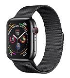 Eiroo Milanese Loop Apple Watch / Watch 2 / Watch 3 Siyah Metal Kordon (42 mm)
