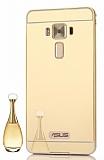 Eiroo Mirror Asus Zenfone 3 Laser ZC551KL Metal Kenarlı Aynalı Gold Rubber Kılıf