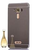 Eiroo Mirror Asus Zenfone 3 Laser ZC551KL Metal Kenarlı Aynalı Siyah Rubber Kılıf