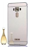 Eiroo Mirror Asus Zenfone 3 Laser ZC551KL Metal Kenarlı Aynalı Silver Rubber Kılıf