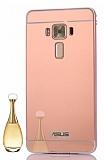 Eiroo Mirror Asus Zenfone 3 Laser ZC551KL Metal Kenarlı Aynalı Rose Gold Rubber Kılıf