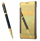 Eiroo Mirror Cover Huawei Mate 9 Aynalı Kapaklı Gold Kılıf