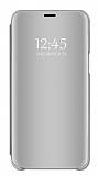Eiroo Mirror Cover Huawei Y6 2019 Aynalı Kapaklı Silver Kılıf