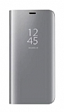 Eiroo Mirror Cover Huawei Y7 2018 Aynalı Kapaklı Silver Kılıf