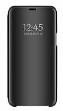 Eiroo Mirror Cover Huawei Y7 2019 Aynalı Kapaklı Siyah Kılıf