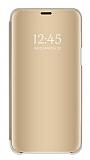 Eiroo Mirror Cover Huawei Y7 2019 Aynalı Kapaklı Gold Kılıf