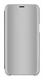 Eiroo Mirror Cover Huawei Y7 2019 Aynalı Kapaklı Silver Kılıf
