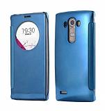 Eiroo Mirror Cover LG G4 Aynalı Kapaklı Uyku Modlu Dark Blue Kılıf
