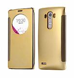 Eiroo Mirror Cover LG G4 Aynalı Kapaklı Uyku Modlu Gold Kılıf