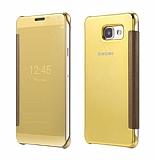 Eiroo Mirror Cover Samsung Galaxy A3 2016 Aynalı Kapaklı Gold Kılıf