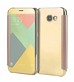 Eiroo Mirror Cover Samsung Galaxy A3 2017 Aynalı Kapaklı Gold Kılıf