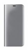 Eiroo Mirror Cover Samsung Galaxy A6 Plus 2018 Aynalı Kapaklı Silver Kılıf