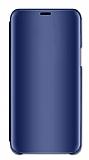 Eiroo Mirror Cover Samsung Galaxy A7 2018 Aynalı Kapaklı Lacivert Kılıf