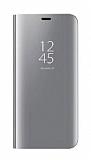 Eiroo Mirror Cover Samsung Galaxy A8 Plus 2018 Aynalı Kapaklı Silver Kılıf