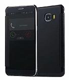 Eiroo Mirror Cover Samsung Galaxy C7 Aynalı Kapaklı Siyah Kılıf