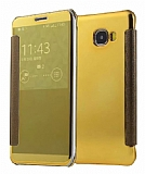 Eiroo Mirror Cover Samsung Galaxy C7 Aynalı Kapaklı Gold Kılıf