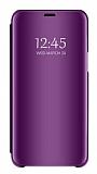 Eiroo Mirror Cover Samsung Galaxy J6 Plus Aynalı Kapaklı Mor Kılıf