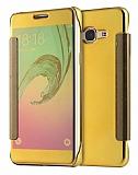 Eiroo Mirror Cover Samsung Galaxy J7 2016 Aynalı Kapaklı Gold Kılıf