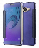 Eiroo Mirror Cover Samsung Galaxy J7 2016 Aynalı Kapaklı Lacivert Kılıf