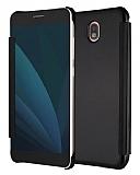 Eiroo Mirror Cover Samsung Galaxy J7 Pro 2017 Aynalı Kapaklı Siyah Kılıf