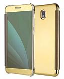 Eiroo Mirror Cover Samsung Galaxy J7 Pro 2017 Aynalı Kapaklı Gold Kılıf
