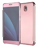 Eiroo Mirror Cover Samsung Galaxy J7 Pro 2017 Aynalı Kapaklı Rose Gold Kılıf
