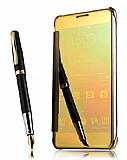 Eiroo Mirror Cover Samsung Galaxy Note 4 Aynalı Kapaklı Gold Kılıf