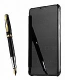 Eiroo Mirror Cover Samsung Galaxy Note 4 Aynalı Kapaklı Siyah Kılıf