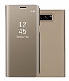 Eiroo Mirror Cover Samsung Galaxy Note 5 Uyku Modlu Aynalı Kapaklı Gold Kılıf