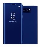 Eiroo Mirror Cover Samsung Galaxy Note 5 Uyku Modlu Aynalı Kapaklı Lacivert Kılıf
