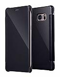 Eiroo Mirror Cover Samsung Galaxy Note FE Aynalı Kapaklı Siyah Kılıf