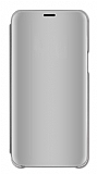 Eiroo Mirror Cover Samsung Galaxy S20 Aynalı Kapaklı Silver Kılıf