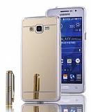 Eiroo Mirror Samsung Galaxy Grand Prime / Prime Plus Silikon Kenarlı Aynalı Gold Rubber Kılıf