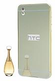 Eiroo Mirror HTC Desire 816 Metal Kenarlı Aynalı Gold Rubber Kılıf