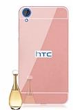 Eiroo Mirror HTC Desire 820 Metal Kenarlı Aynalı Rose Gold Rubber Kılıf