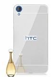 Eiroo Mirror HTC Desire 820 Metal Kenarlı Aynalı Silver Rubber Kılıf
