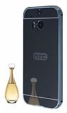 Eiroo Mirror HTC One M8 Metal Kenarlı Aynalı Siyah Rubber Kılıf
