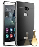 Eiroo Mirror Huawei Ascend Mate S Metal Kenarlı Aynalı Siyah Rubber Kılıf